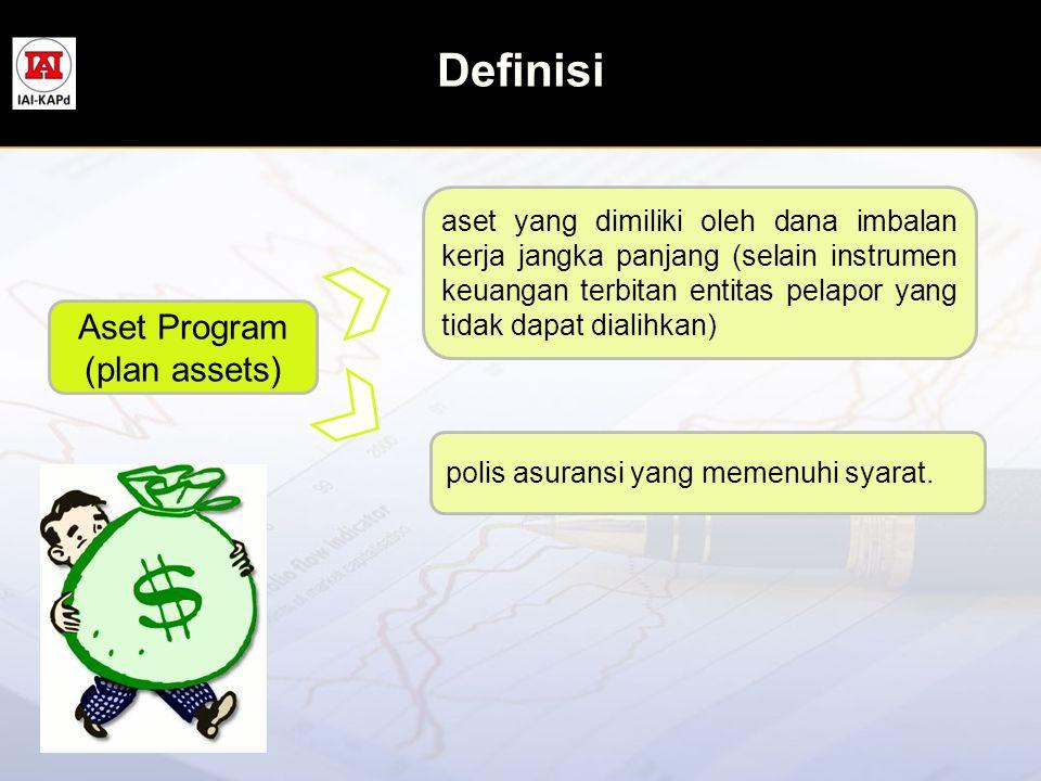 Definisi Aset Program (plan assets) aset yang dimiliki oleh dana imbalan kerja jangka panjang (selain instrumen keuangan terbitan entitas pelapor yang