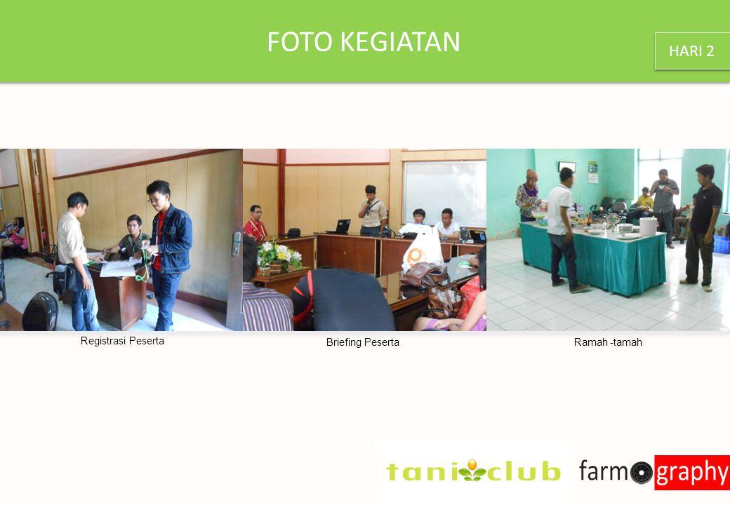 FOTO KEGIATAN Registrasi Peserta Briefing Peserta Ramah -tamah HARI 2