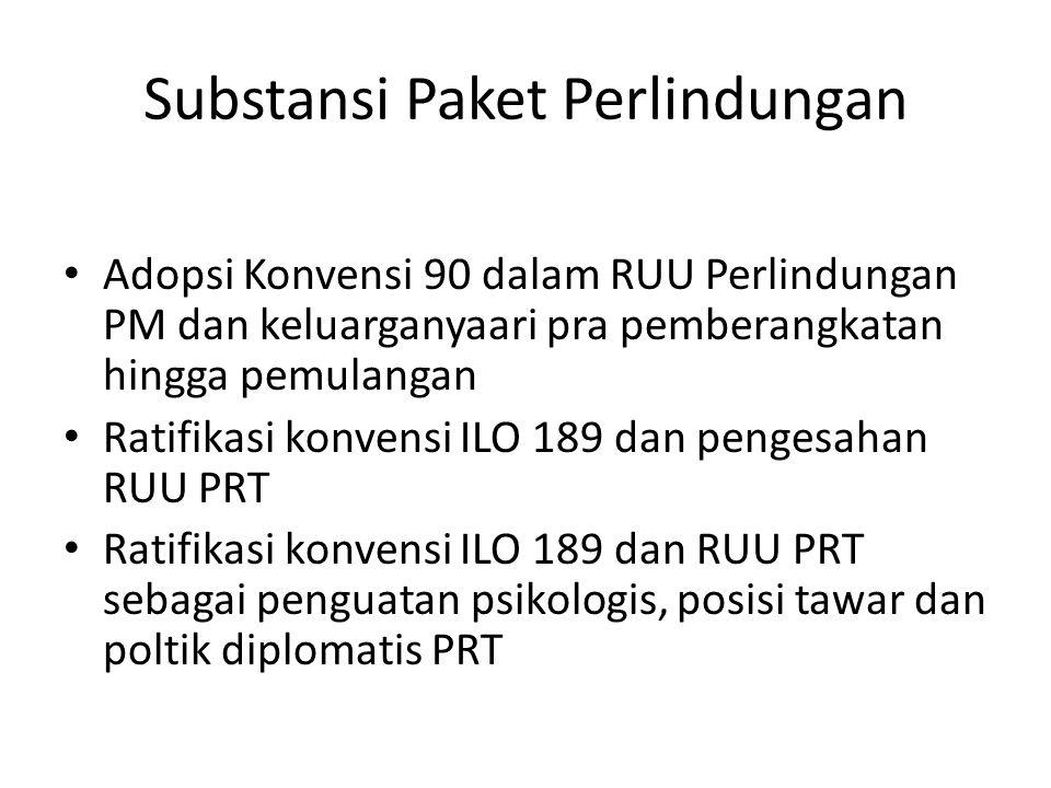 Substansi Paket Perlindungan • Adopsi Konvensi 90 dalam RUU Perlindungan PM dan keluarganyaari pra pemberangkatan hingga pemulangan • Ratifikasi konve