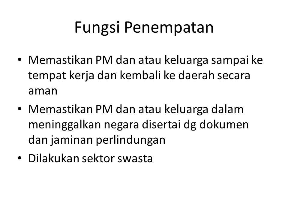 Fungsi Penempatan • Memastikan PM dan atau keluarga sampai ke tempat kerja dan kembali ke daerah secara aman • Memastikan PM dan atau keluarga dalam m