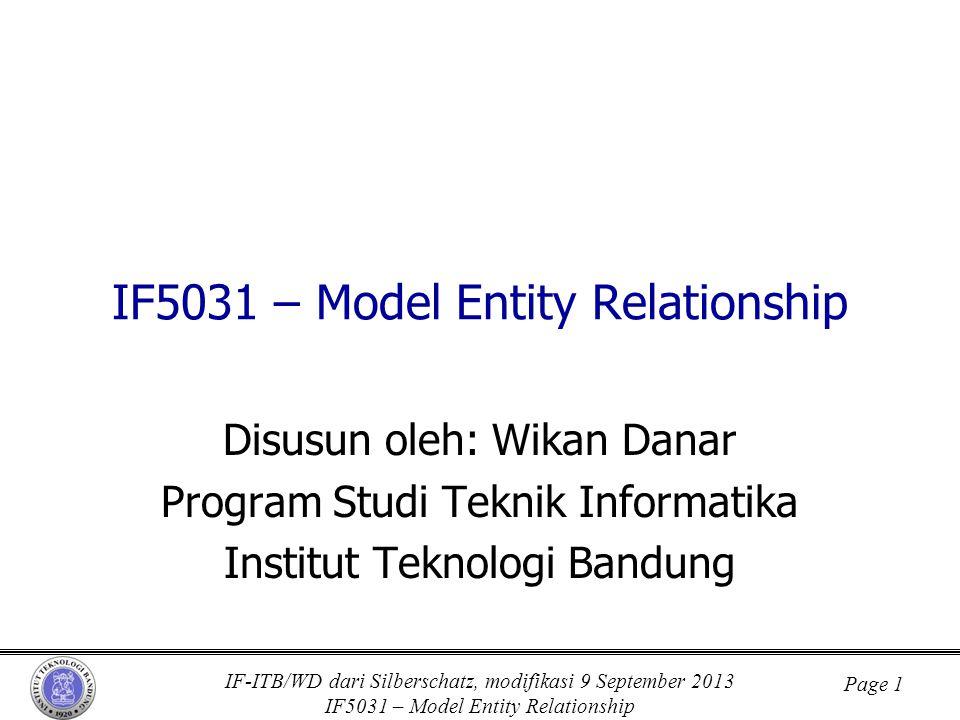IF-ITB/WD dari Silberschatz, modifikasi 9 September 2013 IF5031 – Model Entity Relationship Page 1 IF5031 – Model Entity Relationship Disusun oleh: Wi