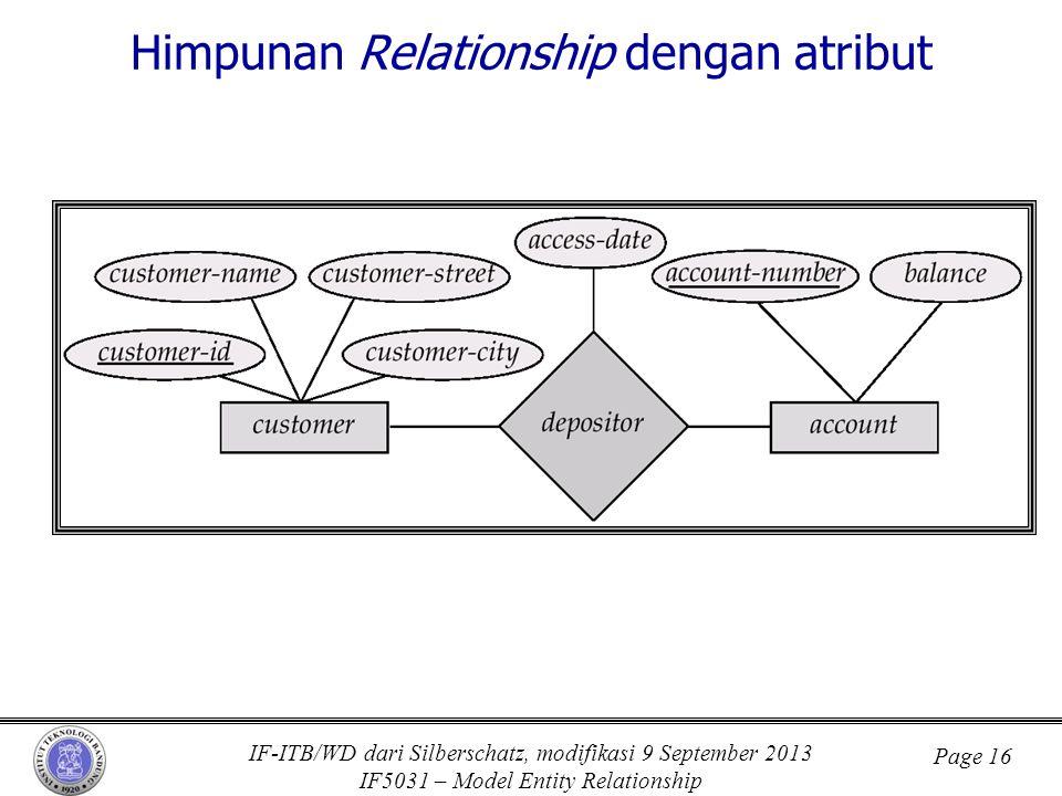 IF-ITB/WD dari Silberschatz, modifikasi 9 September 2013 IF5031 – Model Entity Relationship Page 16 Himpunan Relationship dengan atribut