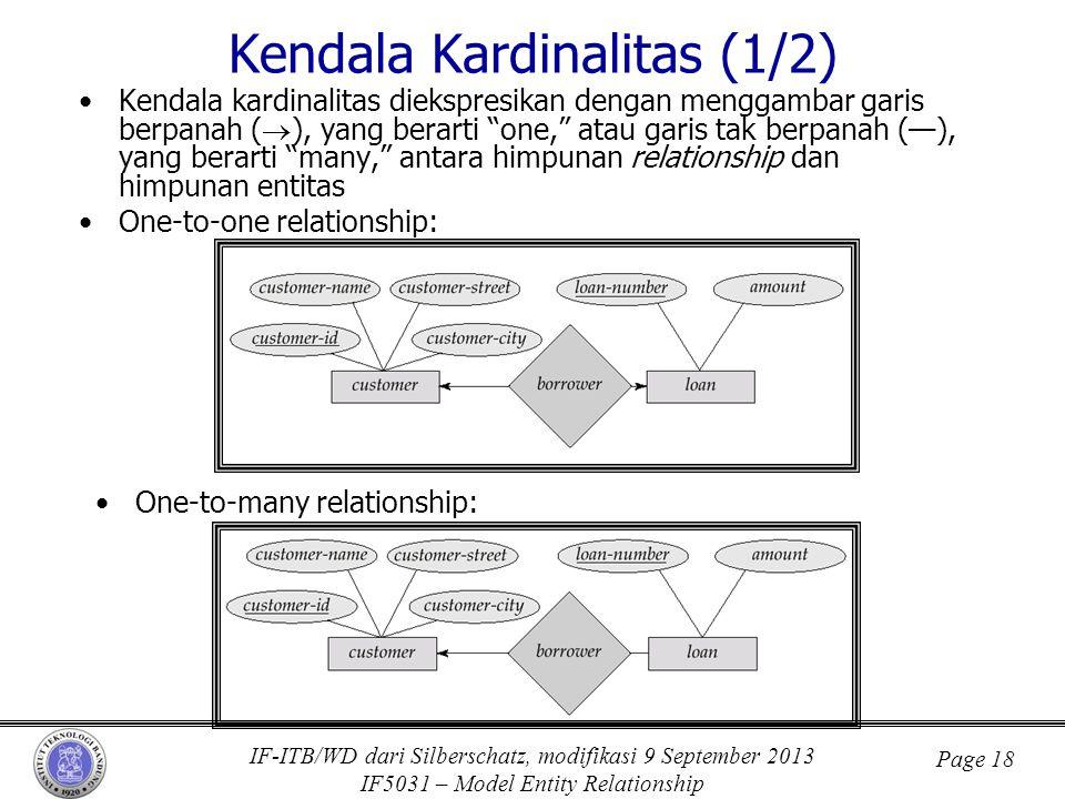 IF-ITB/WD dari Silberschatz, modifikasi 9 September 2013 IF5031 – Model Entity Relationship Page 18 Kendala Kardinalitas (1/2) •Kendala kardinalitas d