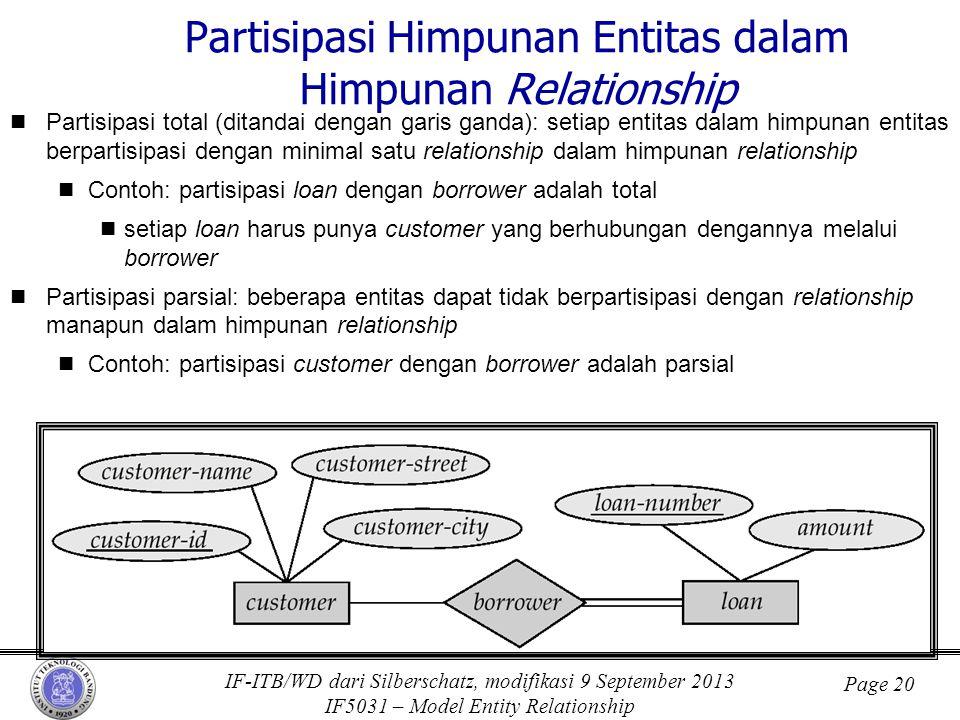 IF-ITB/WD dari Silberschatz, modifikasi 9 September 2013 IF5031 – Model Entity Relationship Page 20 Partisipasi Himpunan Entitas dalam Himpunan Relati