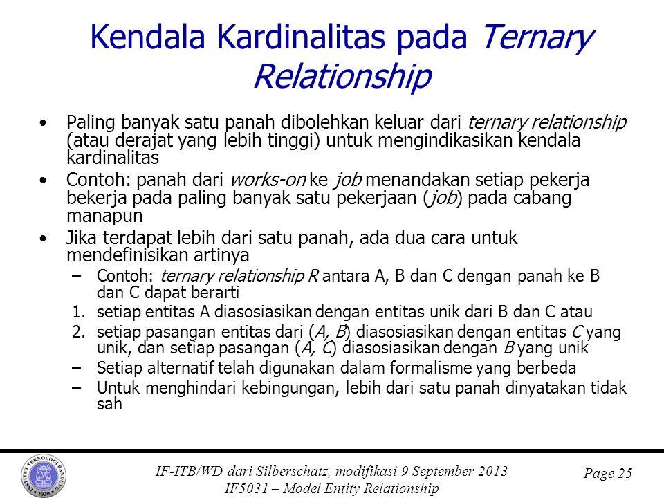 IF-ITB/WD dari Silberschatz, modifikasi 9 September 2013 IF5031 – Model Entity Relationship Page 25 Kendala Kardinalitas pada Ternary Relationship •Pa