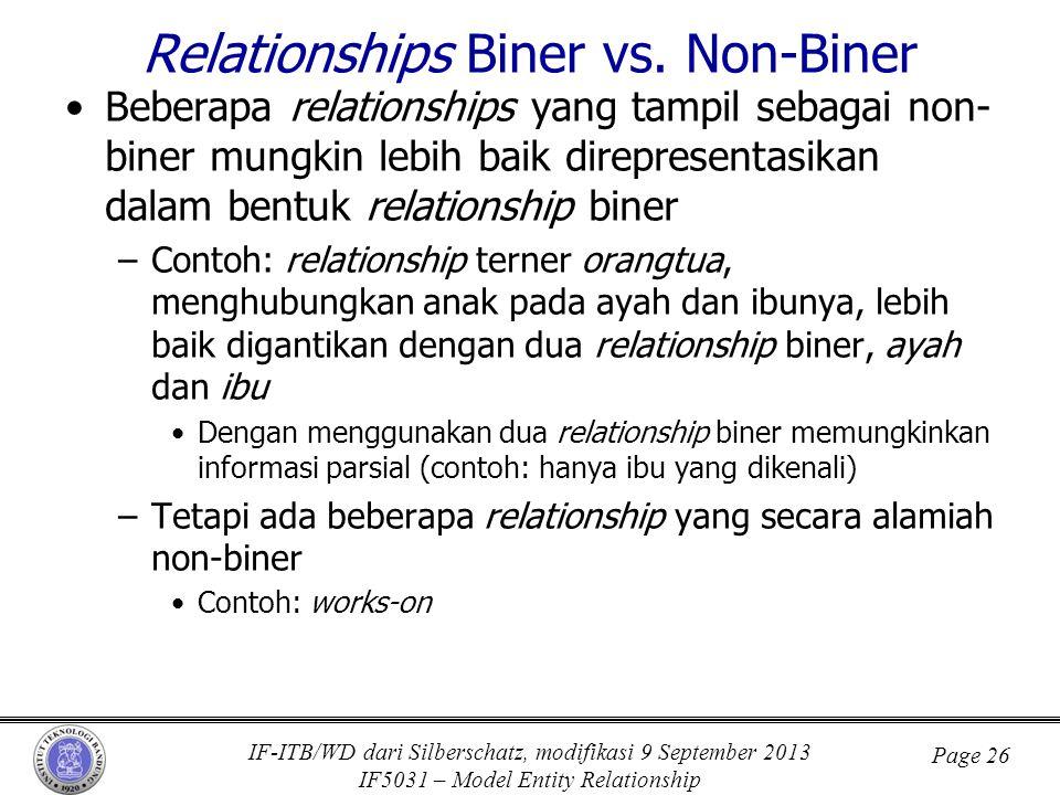 IF-ITB/WD dari Silberschatz, modifikasi 9 September 2013 IF5031 – Model Entity Relationship Page 26 Relationships Biner vs. Non-Biner •Beberapa relati