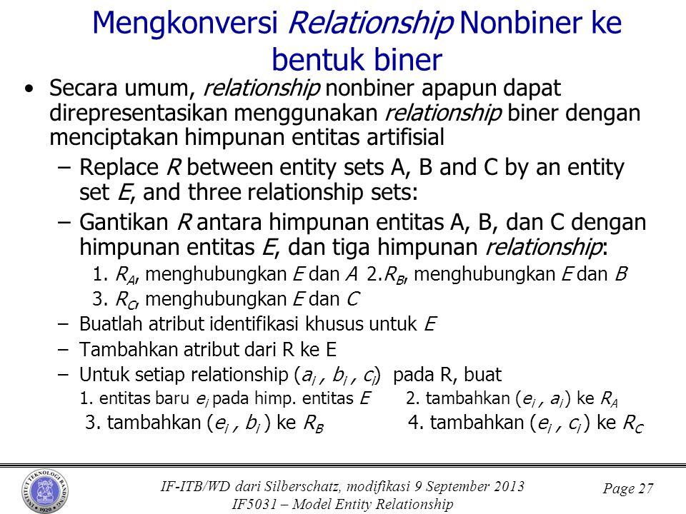 IF-ITB/WD dari Silberschatz, modifikasi 9 September 2013 IF5031 – Model Entity Relationship Page 27 Mengkonversi Relationship Nonbiner ke bentuk biner