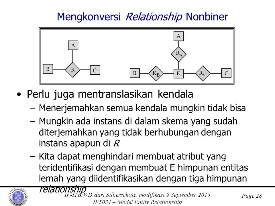 IF-ITB/WD dari Silberschatz, modifikasi 9 September 2013 IF5031 – Model Entity Relationship Page 28 Mengkonversi Relationship Nonbiner •Perlu juga men