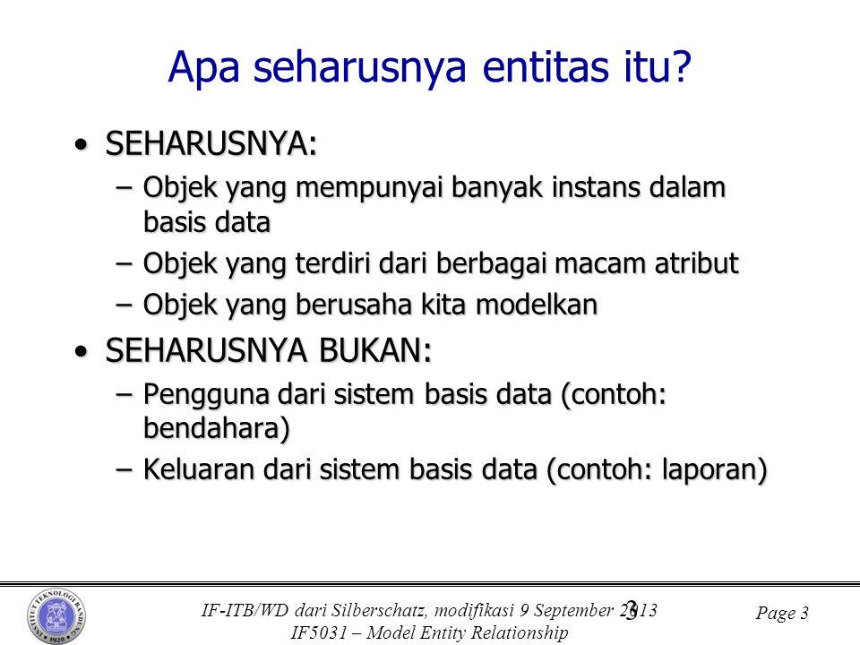IF-ITB/WD dari Silberschatz, modifikasi 9 September 2013 IF5031 – Model Entity Relationship Page 3 3 Apa seharusnya entitas itu? •SEHARUSNYA: –Objek y