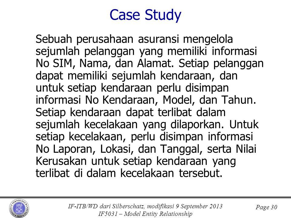 IF-ITB/WD dari Silberschatz, modifikasi 9 September 2013 IF5031 – Model Entity Relationship Page 30 Case Study Sebuah perusahaan asuransi mengelola se