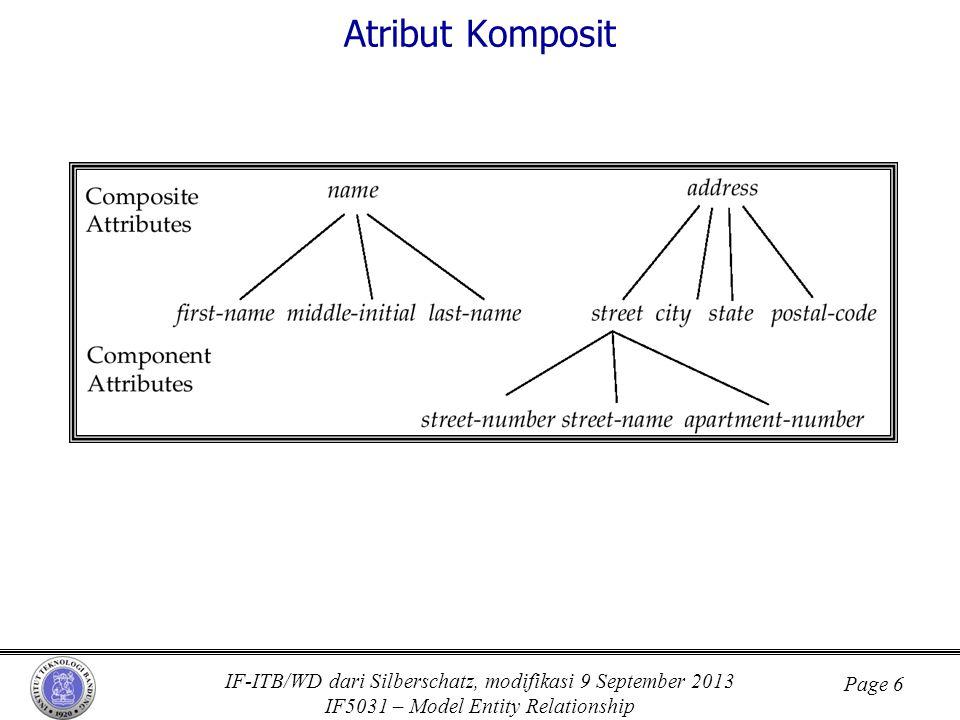 IF-ITB/WD dari Silberschatz, modifikasi 9 September 2013 IF5031 – Model Entity Relationship Page 6 Atribut Komposit