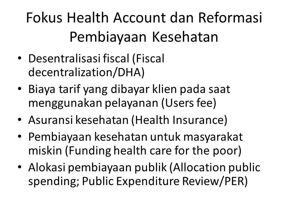 Fokus Health Account dan Reformasi Pembiayaan Kesehatan • Desentralisasi fiscal (Fiscal decentralization/DHA) • Biaya tarif yang dibayar klien pada saat menggunakan pelayanan (Users fee) • Asuransi kesehatan (Health Insurance) • Pembiayaan kesehatan untuk masyarakat miskin (Funding health care for the poor) • Alokasi pembiayaan publik (Allocation public spending; Public Expenditure Review/PER)