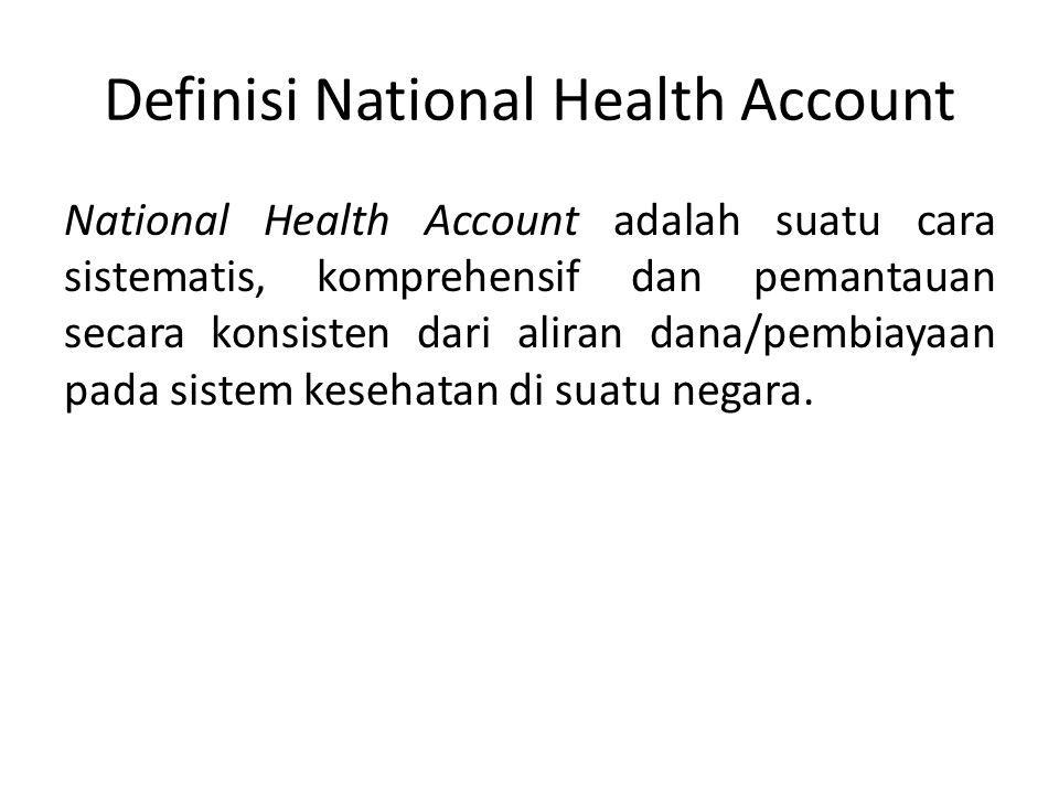 Definisi National Health Account National Health Account adalah suatu cara sistematis, komprehensif dan pemantauan secara konsisten dari aliran dana/pembiayaan pada sistem kesehatan di suatu negara.