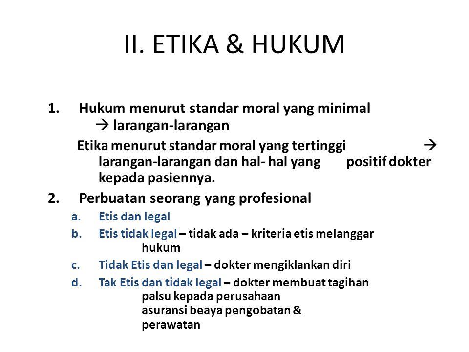 II. ETIKA & HUKUM 1.Hukum menurut standar moral yang minimal  larangan-larangan Etika menurut standar moral yang tertinggi  larangan-larangan dan ha