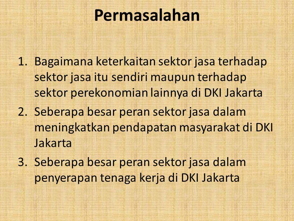 Permasalahan 1.Bagaimana keterkaitan sektor jasa terhadap sektor jasa itu sendiri maupun terhadap sektor perekonomian lainnya di DKI Jakarta 2.Seberap