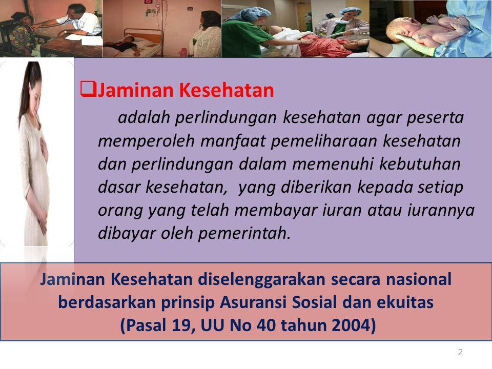 Jaminan Kesehatan diselenggarakan secara nasional berdasarkan prinsip Asuransi Sosial dan ekuitas (Pasal 19, UU No 40 tahun 2004)  Jaminan Kesehatan