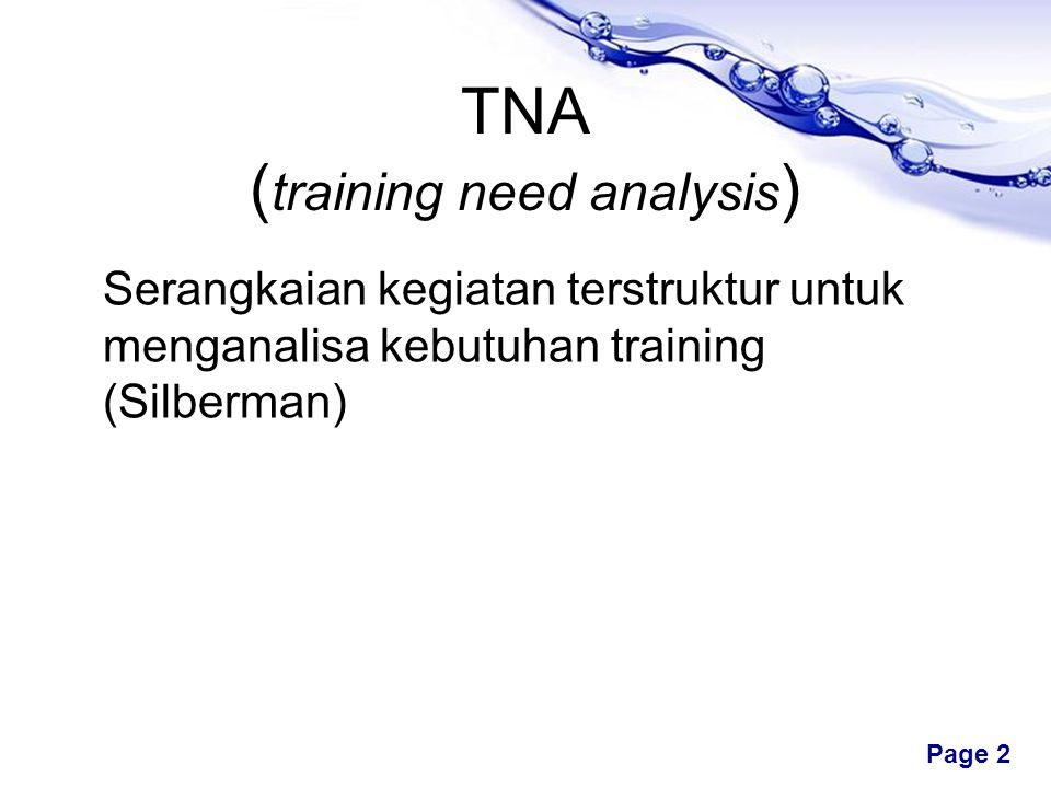 Free Powerpoint Templates Page 2 TNA ( training need analysis ) Serangkaian kegiatan terstruktur untuk menganalisa kebutuhan training (Silberman)