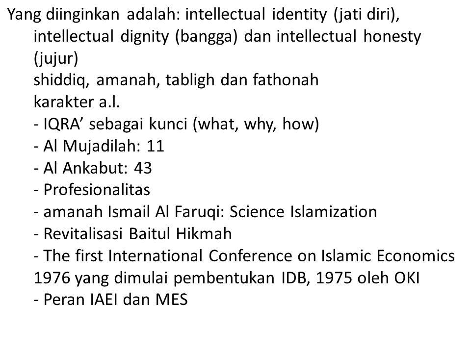 Yang diinginkan adalah: intellectual identity (jati diri), intellectual dignity (bangga) dan intellectual honesty (jujur) shiddiq, amanah, tabligh dan