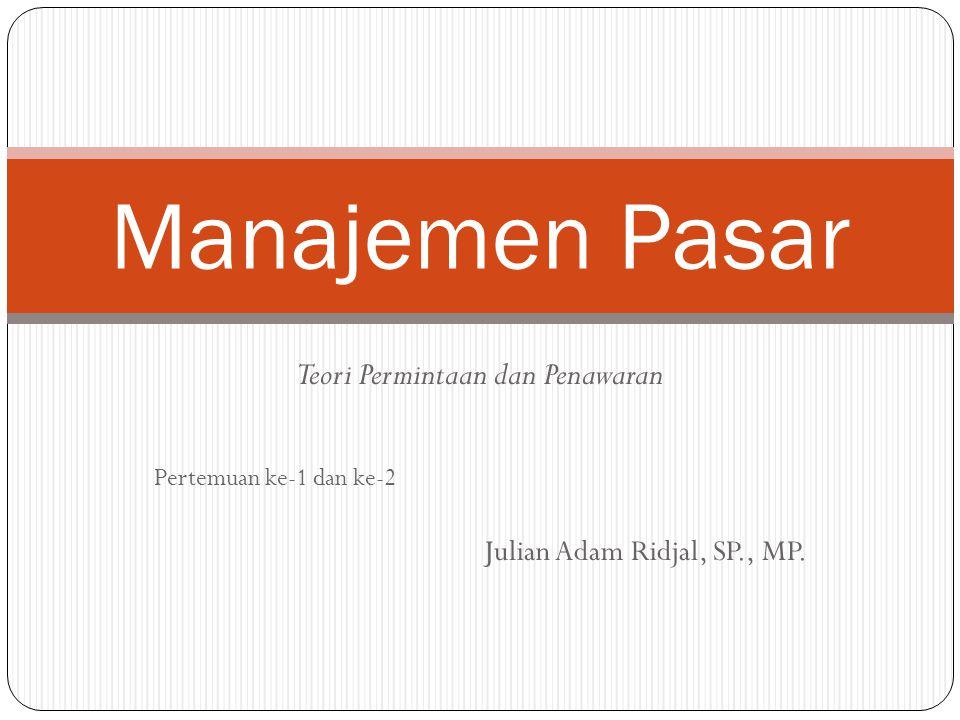 Teori Permintaan dan Penawaran Pertemuan ke-1 dan ke-2 Julian Adam Ridjal, SP., MP. Manajemen Pasar