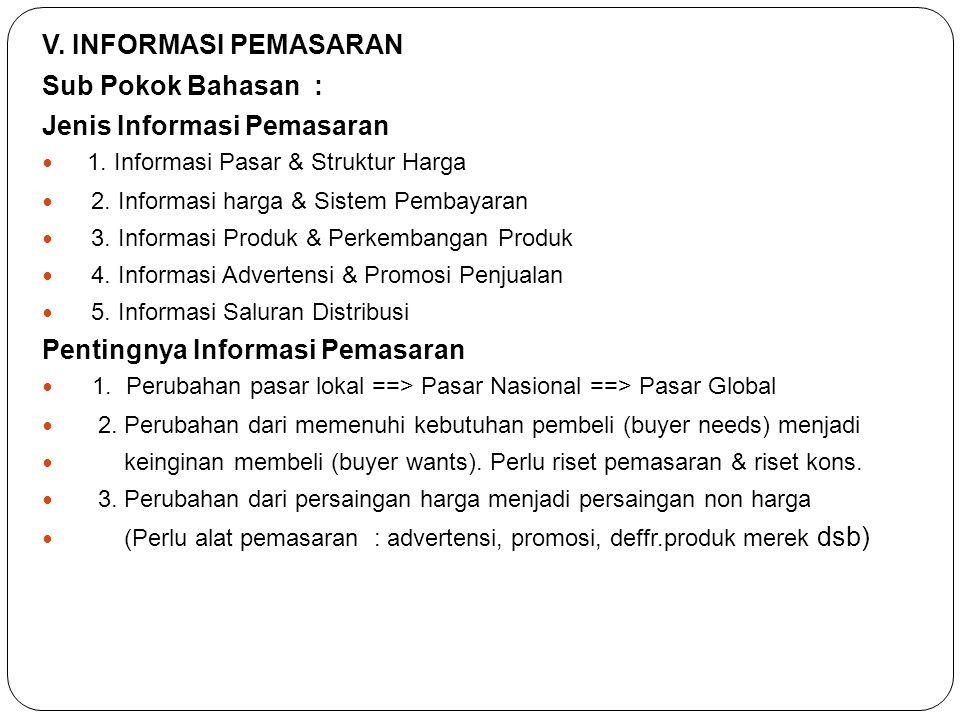 V. INFORMASI PEMASARAN Sub Pokok Bahasan : Jenis Informasi Pemasaran  1. Informasi Pasar & Struktur Harga  2. Informasi harga & Sistem Pembayaran 