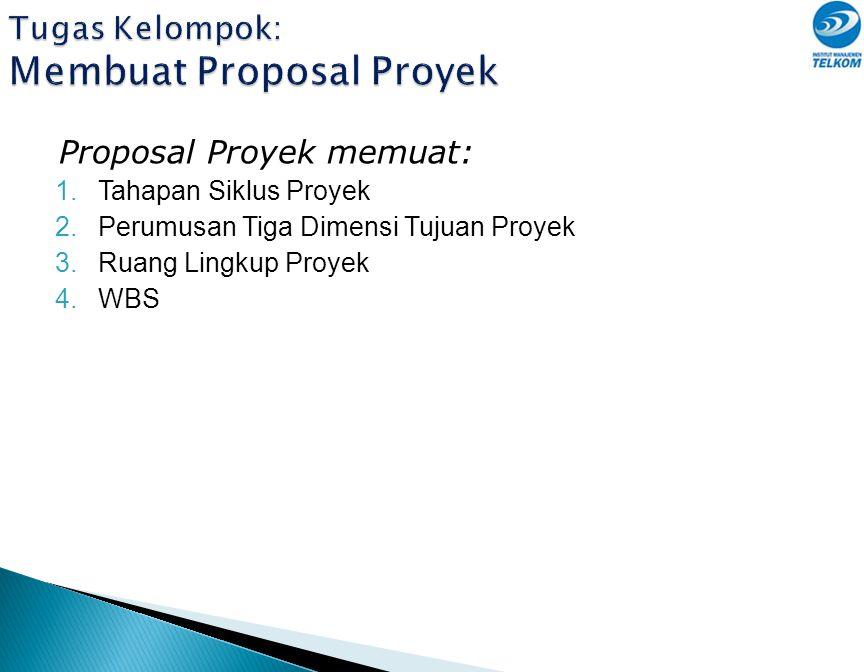 Tugas Kelompok: Membuat Proposal Proyek Proposal Proyek memuat: 1.Tahapan Siklus Proyek 2.Perumusan Tiga Dimensi Tujuan Proyek 3.Ruang Lingkup Proyek