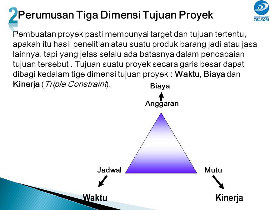 Perumusan Tiga Dimensi Tujuan Proyek Pembuatan proyek pasti mempunyai target dan tujuan tertentu, apakah itu hasil penelitian atau suatu produk barang