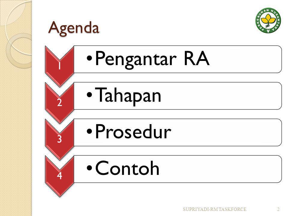 Agenda 1 •Pengantar RA 2 •Tahapan 3 •Prosedur 4 •Contoh SUPRIYADI-RM TASKFORCE2