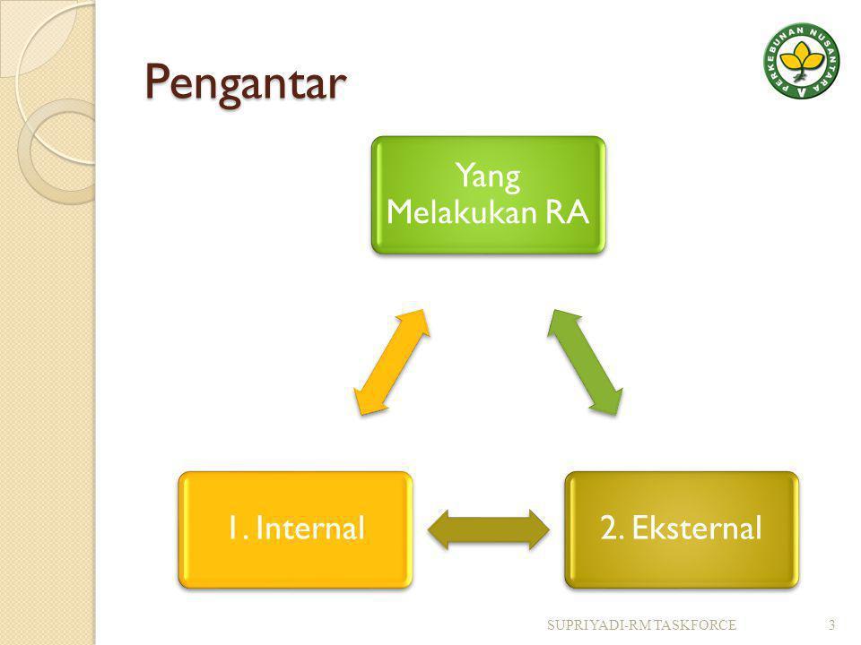 Pengantar Yang Melakukan RA 2. Eksternal1. Internal SUPRIYADI-RM TASKFORCE3