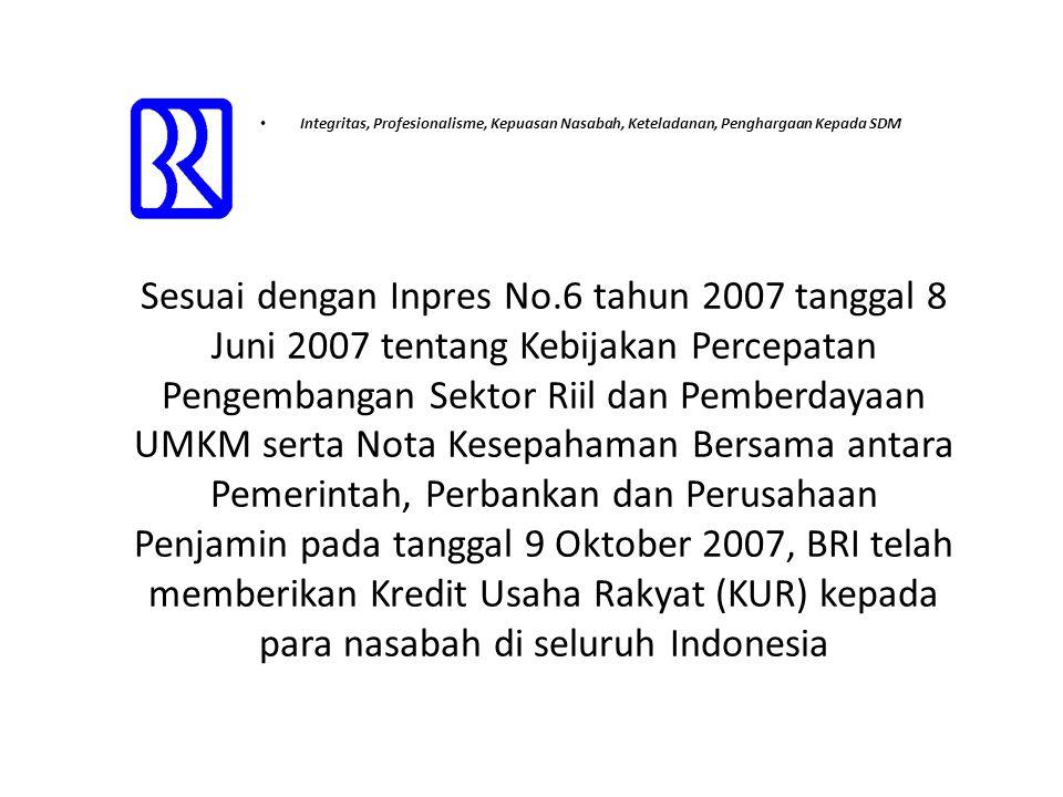 • Integritas, Profesionalisme, Kepuasan Nasabah, Keteladanan, Penghargaan Kepada SDM Sesuai dengan Inpres No.6 tahun 2007 tanggal 8 Juni 2007 tentang Kebijakan Percepatan Pengembangan Sektor Riil dan Pemberdayaan UMKM serta Nota Kesepahaman Bersama antara Pemerintah, Perbankan dan Perusahaan Penjamin pada tanggal 9 Oktober 2007, BRI telah memberikan Kredit Usaha Rakyat (KUR) kepada para nasabah di seluruh Indonesia