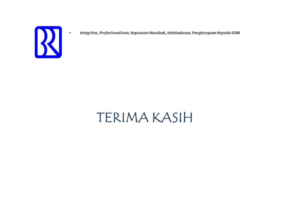 • Integritas, Profesionalisme, Kepuasan Nasabah, Keteladanan, Penghargaan Kepada SDM TERIMA KASIH