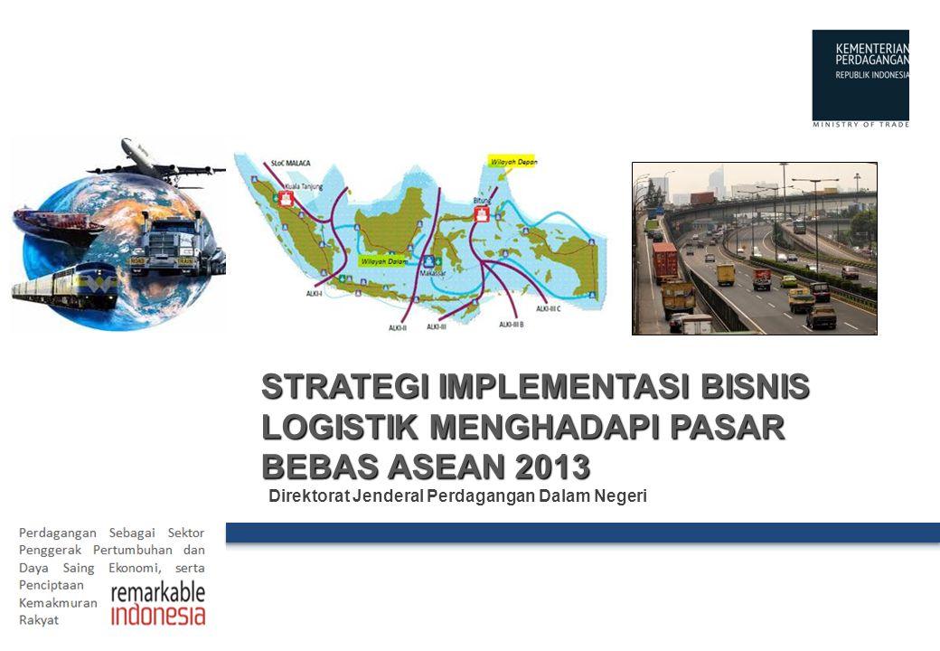The Ministry of Trade of the Republic of Indonesia OUTLINE 2 I.VISI DAN MISI KEMENDAG II.INTEGRASI PERDAGANGAN JASA DI ASEAN III.STRUKTUR DAN PELUANG USAHA PELAKU DAN PENYEDIA JASA LOGISTIK IV.STRATEGI IMPLEMENTASI BISNIS LOGISTIK MENGHADAPI PASAR BEBAS ASEAN 2013