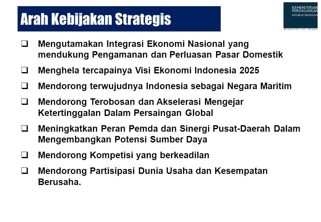 Arah Kebijakan Strategis  Mengutamakan Integrasi Ekonomi Nasional yang mendukung Pengamanan dan Perluasan Pasar Domestik  Menghela tercapainya Visi