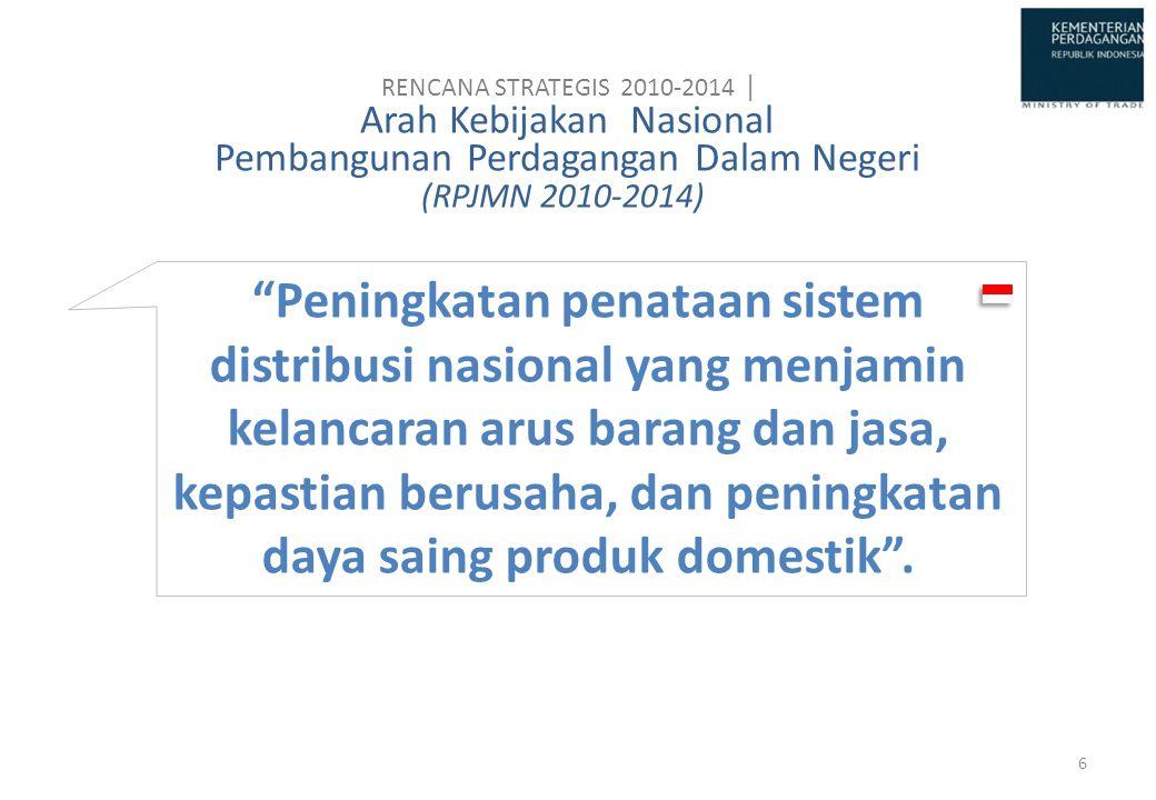 """Peningkatan penataan sistem distribusi nasional yang menjamin kelancaran arus barang dan jasa, kepastian berusaha, dan peningkatan daya saing produk"