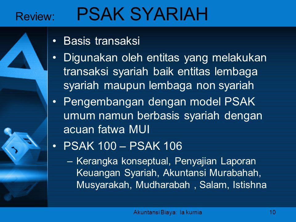 Akuntansi Biaya: Ia kurnia10 •Basis transaksi •Digunakan oleh entitas yang melakukan transaksi syariah baik entitas lembaga syariah maupun lembaga non