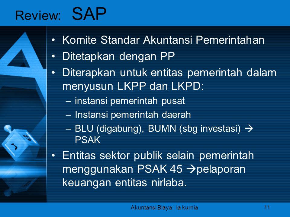Akuntansi Biaya: Ia kurnia11 •Komite Standar Akuntansi Pemerintahan •Ditetapkan dengan PP •Diterapkan untuk entitas pemerintah dalam menyusun LKPP dan