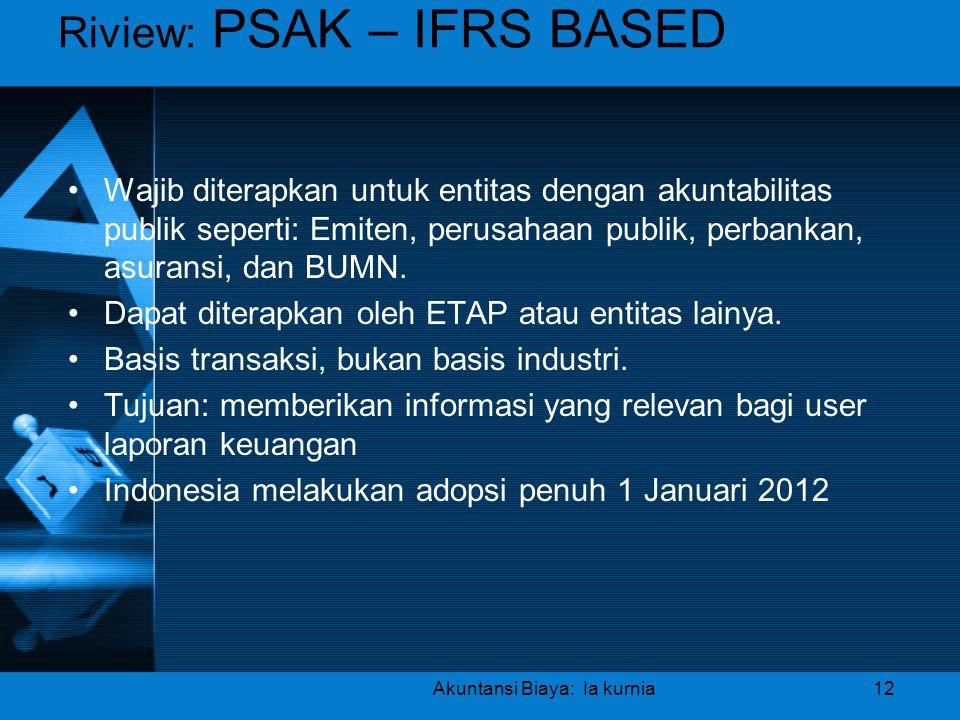 Riview: PSAK – IFRS BASED •Wajib diterapkan untuk entitas dengan akuntabilitas publik seperti: Emiten, perusahaan publik, perbankan, asuransi, dan BUM