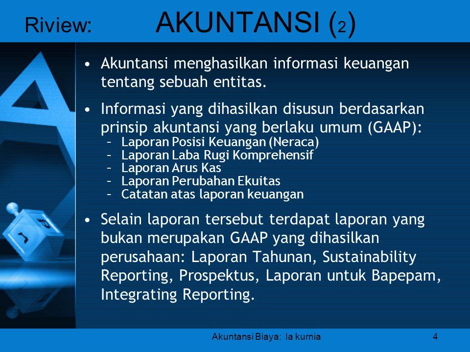 Riview: AKUNTANSI ( 2 ) •Akuntansi menghasilkan informasi keuangan tentang sebuah entitas. •Informasi yang dihasilkan disusun berdasarkan prinsip akun