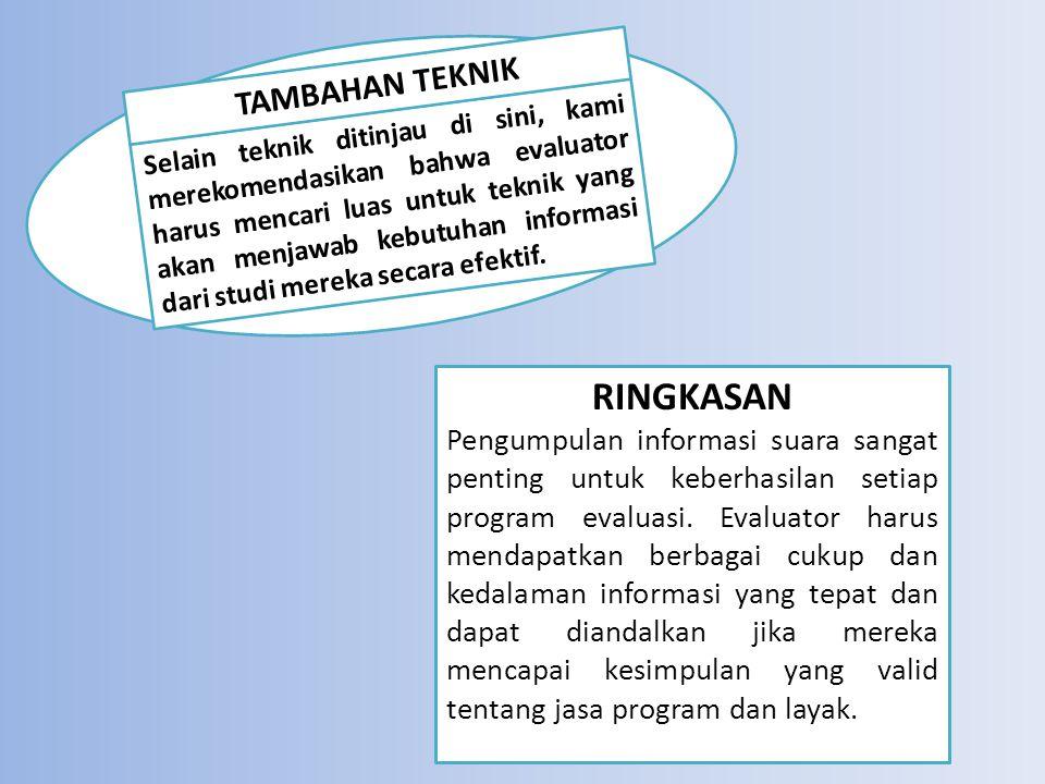 RINGKASAN Pengumpulan informasi suara sangat penting untuk keberhasilan setiap program evaluasi.