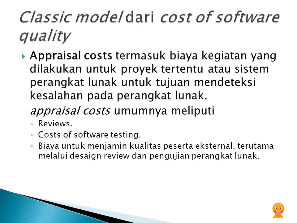  Appraisal costs termasuk biaya kegiatan yang dilakukan untuk proyek tertentu atau sistem perangkat lunak untuk tujuan mendeteksi kesalahan pada pera