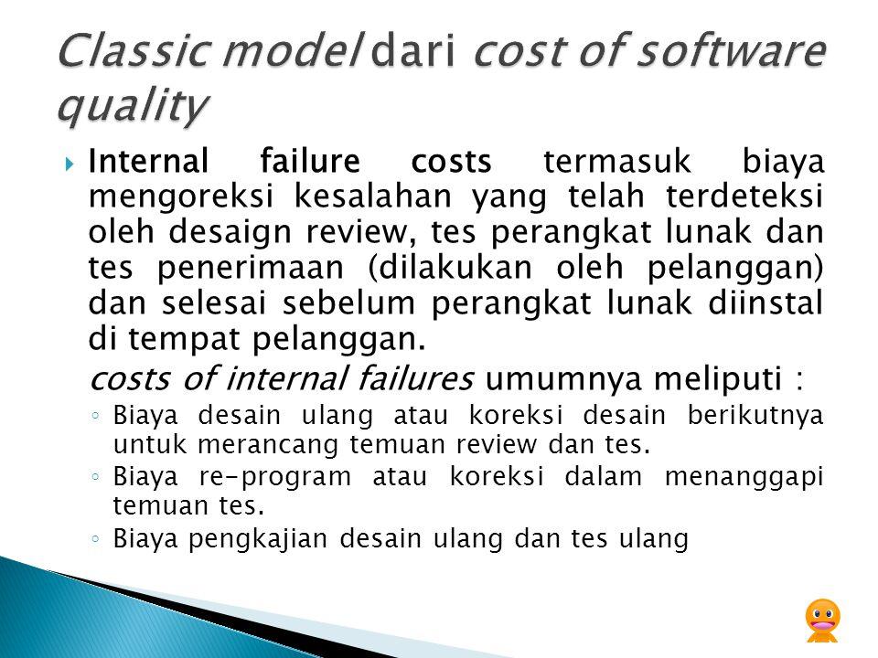  Internal failure costs termasuk biaya mengoreksi kesalahan yang telah terdeteksi oleh desaign review, tes perangkat lunak dan tes penerimaan (dilakukan oleh pelanggan) dan selesai sebelum perangkat lunak diinstal di tempat pelanggan.