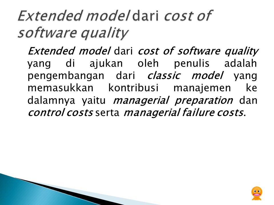 Extended model dari cost of software quality yang di ajukan oleh penulis adalah pengembangan dari classic model yang memasukkan kontribusi manajemen k