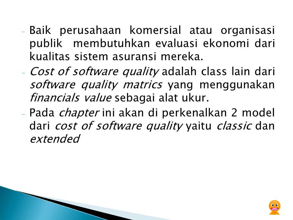 - Baik perusahaan komersial atau organisasi publik membutuhkan evaluasi ekonomi dari kualitas sistem asuransi mereka. - Cost of software quality adala
