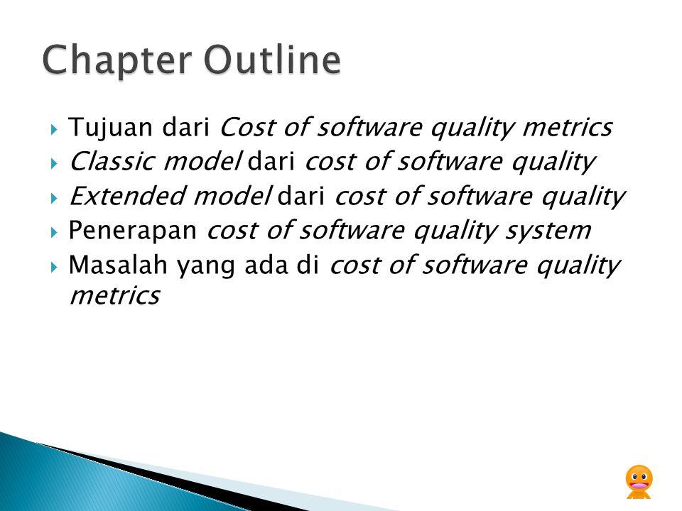  Tujuan dari Cost of software quality metrics  Classic model dari cost of software quality  Extended model dari cost of software quality  Penerapan cost of software quality system  Masalah yang ada di cost of software quality metrics