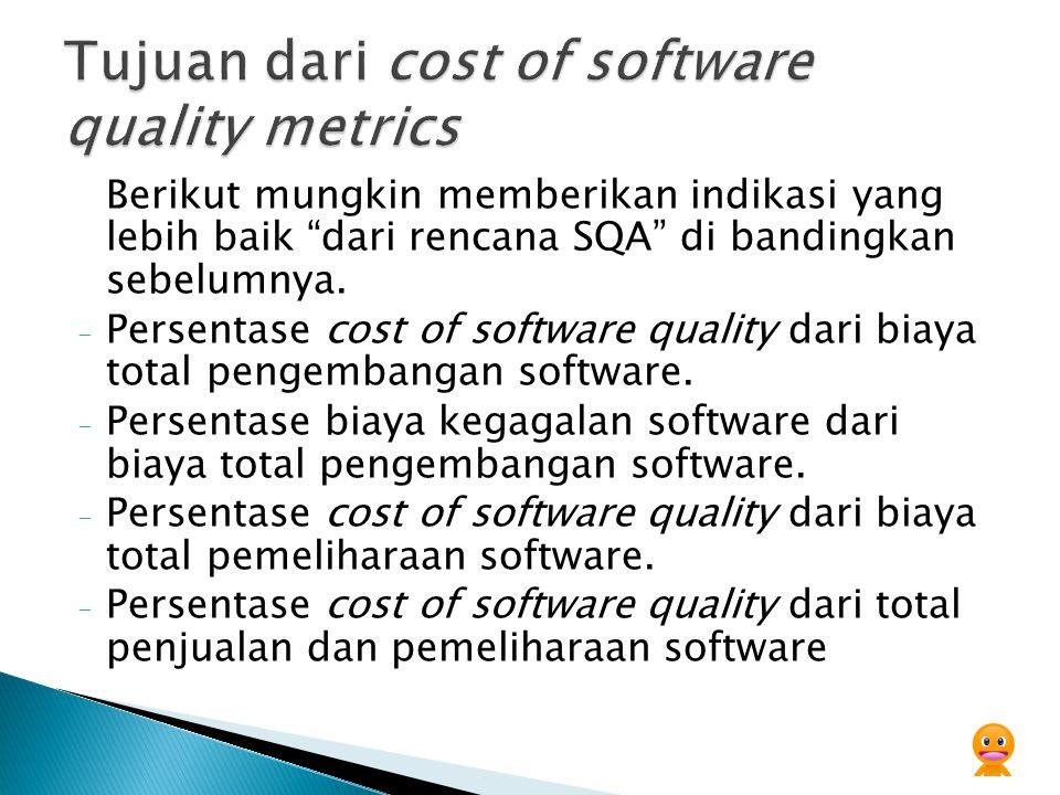 Yang di butuhkan :  Mendefinisikan model cost of software quality  definisi dari metode pengkoleksian data  Implementasi cost of software quality, termasuk tindak lanjutnya.