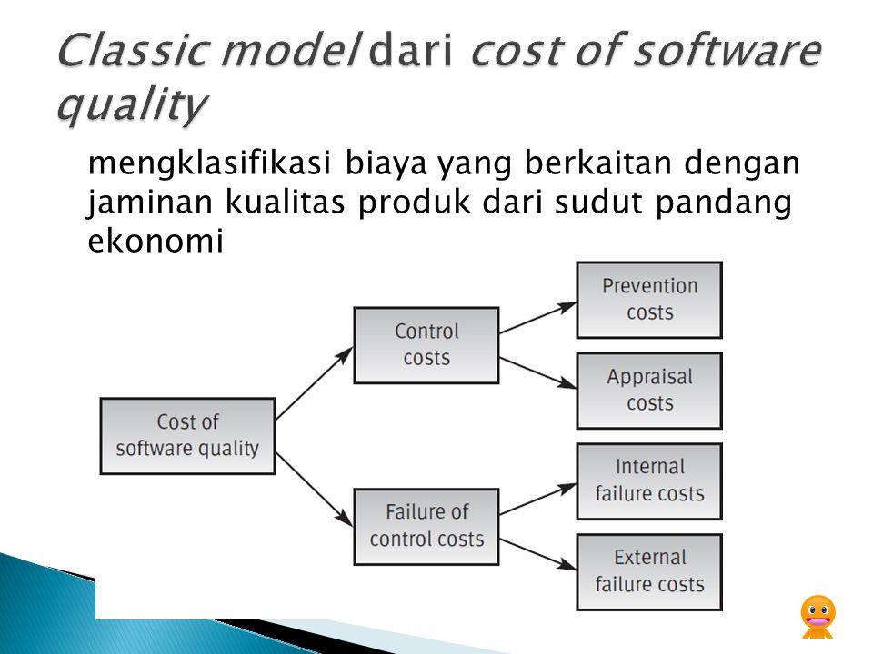 mengklasifikasi biaya yang berkaitan dengan jaminan kualitas produk dari sudut pandang ekonomi