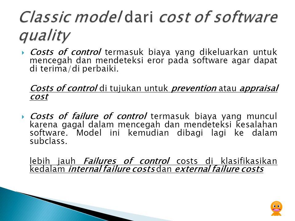  Costs of control termasuk biaya yang dikeluarkan untuk mencegah dan mendeteksi eror pada software agar dapat di terima/di perbaiki. Costs of control
