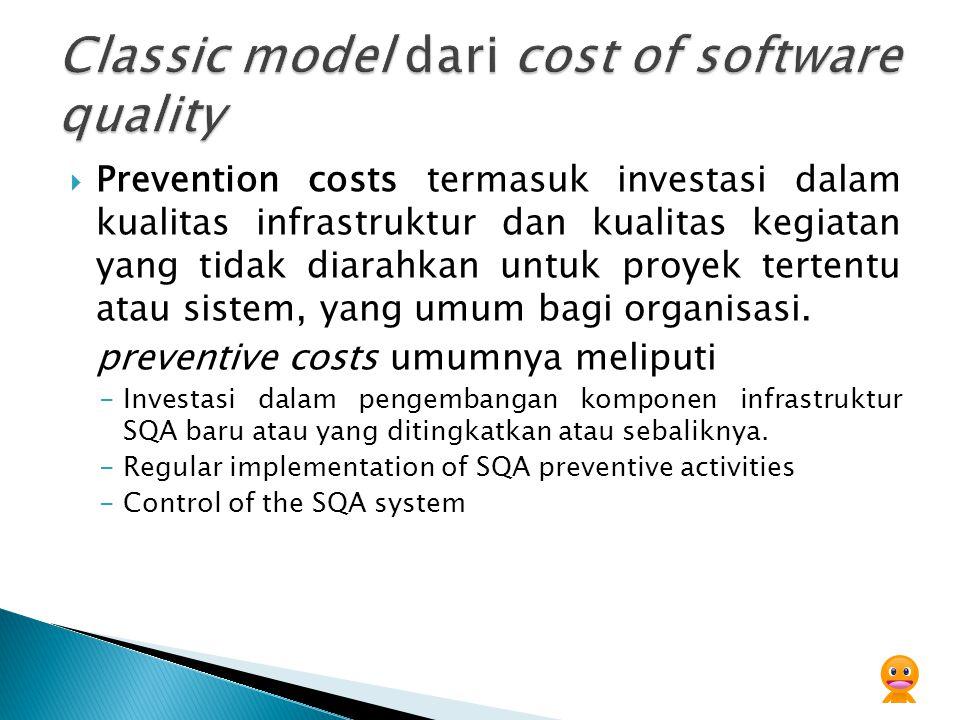 Prevention costs termasuk investasi dalam kualitas infrastruktur dan kualitas kegiatan yang tidak diarahkan untuk proyek tertentu atau sistem, yang umum bagi organisasi.