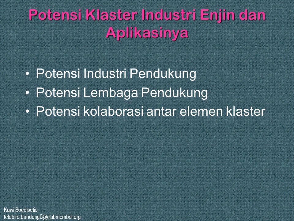 Kawi Boedisetio telebiro.bandung0@clubmember.org Potensi Klaster Industri Enjin dan Aplikasinya •Potensi Industri Pendukung •Potensi Lembaga Pendukung