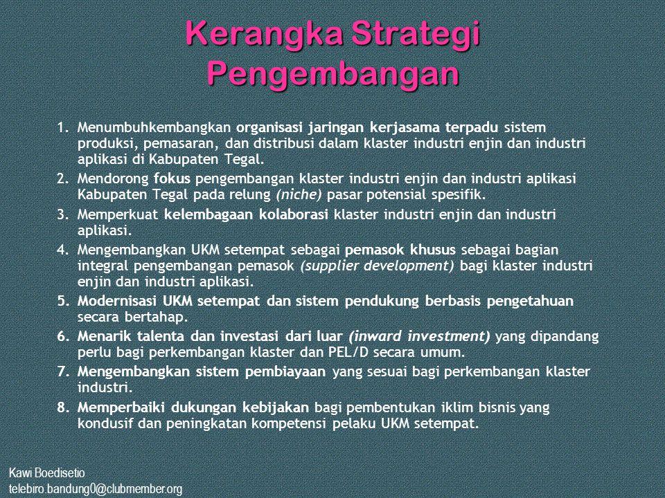 Kawi Boedisetio telebiro.bandung0@clubmember.org Kerangka Strategi Pengembangan 1.Menumbuhkembangkan organisasi jaringan kerjasama terpadu sistem prod