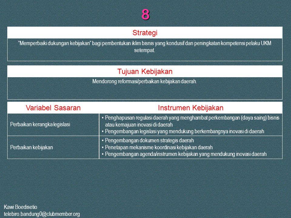 """Kawi Boedisetio telebiro.bandung0@clubmember.org 8 """"Memperbaiki dukungan kebijakan"""" bagi pembentukan iklim bisnis yang kondusif dan peningkatan kompet"""